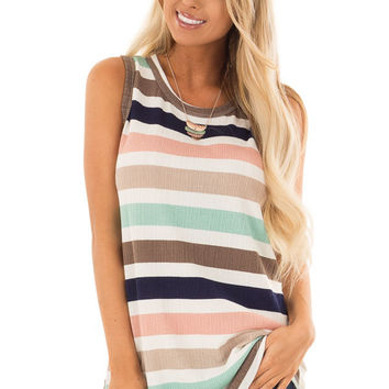 Mint and Blush Striped Sleeveless Tunic