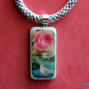 Domino Altered Art Vintage Dove and a Rose Graphic Kumihimo Necklace
