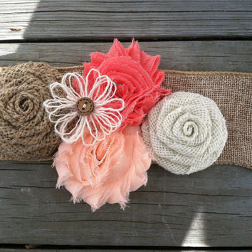 Rustic Peach/Coral Burlap Flower Girl Sash/Belt/Rustic Flower Girl Outfit/Country Wedding/Burlap Sash/Burlap Headband/Peach Burlap Headband