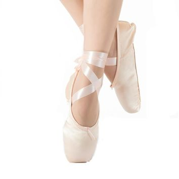 New Ballet Pointe Shoes Satin Upper With Ribbon & Toe Pad Girls Women's Professional B