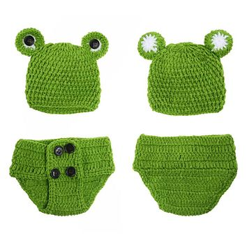 Cute Frog Newborn Crochet Outfits Warm Set Cap Boy Cap Girl Hat Baby Cap Baby Hat  Pants For Infant Newborn Photography Prop