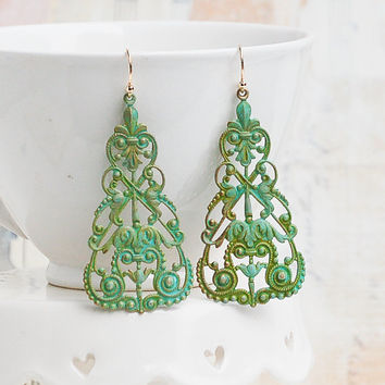 Lace Filigree Earrings Bohemian Green Verdigris Patina Rustic Summer