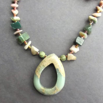 Natural Variscite Pendant, Teardrop Doughnut Bead & Stone Necklace, Semi-precious Stone Chips, Snow Quartz, Serpentine, Agate, Boho Jewelry