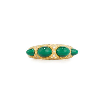 Chantecler Jackie Malachite Cabochon & Diamond Ring in 18K Gold