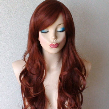 Auburn color wig. Auburn red long wavy layered hair long side bangs Heat resistant synthetic wig.