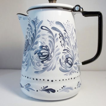 Blue White Enamelware Rosemaled Vintage Coffee Pot Stove top Cookware Hand Painted Rosemaling Scandinavian,Swedish Norwegian Folk Art Style