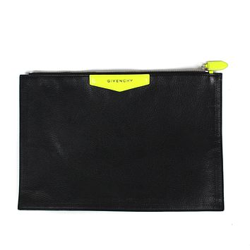 Givenchy Leather Black Neon Yellow Antigonia Clutch Folder Bag