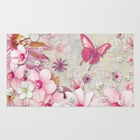 Whimsical Elegant Pink Flowers Butterfly Art Chic and Sophisticated Area & Throw Rug by Megan Aroon Duncanson ~ MADART