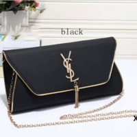 YSL tassell Women Shopping Leather Metal Chain Crossbody Satchel Shoulder Bag Black