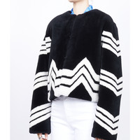 Givenchy Chevron Stripe Faux Fur Jacket - Black Collarless Design Jacket