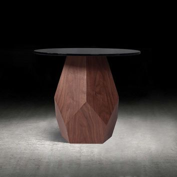 Modrest Rackham Modern Walnut & Smoked Glass End Table
