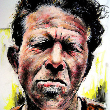 "Print 8x10"" - Tom Waits - Rock Experimental Alcohol Cigarettes Beatnik Piano Guitar Painting Pop Art Actor American Hipster Avant Garde"