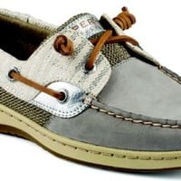 Sperry Top-Sider Bluefish Mariner Stripe 2-Eye Boat Shoe Charcoal, Size 12M  Women's Shoes