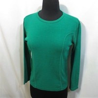 Vintage 70s Top Tight Knit Pullover Green Retro Hippie Stretch