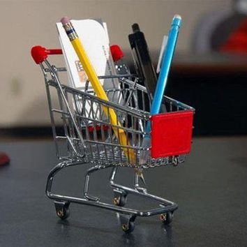 ONETOW Mini Shopping Cart Pen Holder Desk Accessory