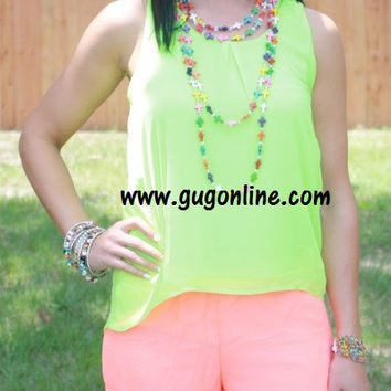 Twist and Shout Tank in Neon Lime
