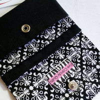 Black and White Damask Wallet with snap closure, Black and White Women's Wallet, Credit Card Wallet with Coin Purse, Small Fabric Wallet