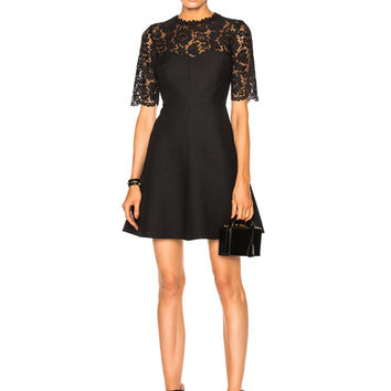 Valentino Heavy Lace & Crepe Couture Dress in Black | FWRD