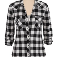 Silver Jeans ® Black And White Checked Flannel Shirt - Black Combo