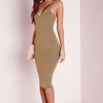 Missguided - Strappy Lurex Stripe Midi Dress Gold