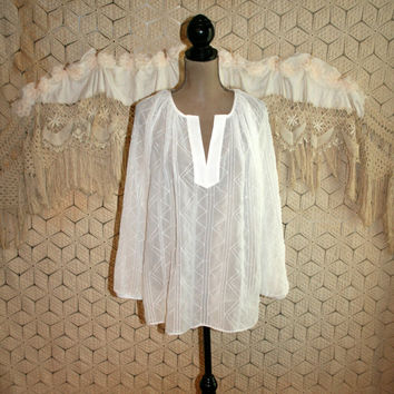 Sheer White Blouse White Chiffon Blouse White Peasant Top Tunic Top Long Sleeve Loose Fit Peasant Blouse Medium Large Womens Clothing