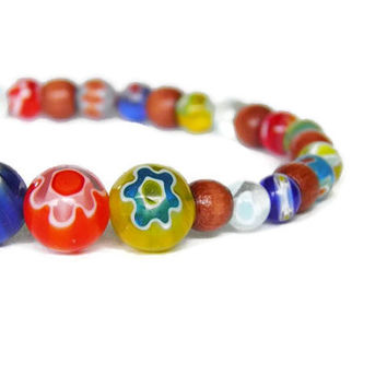 Rainbow flowers millefiori beads summer stretch bracelet stacking boho chic mothers day gift for her