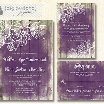 Lace Wood Wedding Invitation 3 Piece Suite Reception Response RSVP Shabby Chic Beach Plum Purple Amethyst DIY Digital or Printed - Willow