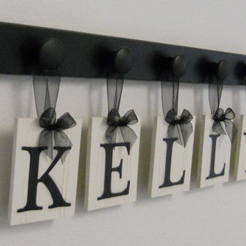 Personalized Family Name Sign KELLY with 5 Wooden Hooks Black - Custom Family Wall Art