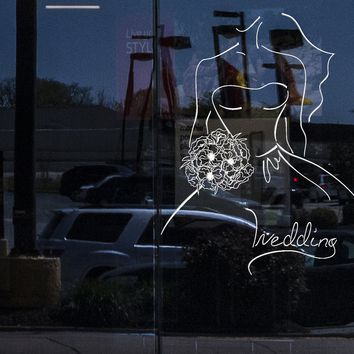 Window Sign for Business Vinyl Decal Wall Sticker Wedding Contour Sketch Bride with Bouquet (n1002w)