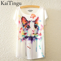 Brand New Fashion Summer Harajuku Animal Cat Print Shirt O-Neck Short Sleeve T Shirt Women Tops