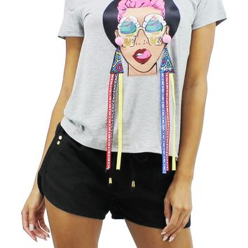 Ice Cream Girl Face Patched Round Neck Loose Fit Short Sleeve T-Shirt