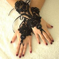Black Lace Wedding Gloves, Gothic Lace Party Gloves,Bridal Gloves Fingerless Gloves Halloween Costume French Lace