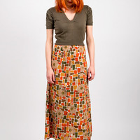 1980's Brown Maxi Skirt - Vintage 80's Geometric Floral Print Red Green Pencil Hippie Boho  High Waist Beige Summer Skirt Size S