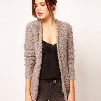 Warehouse Fluffy Textured Cardigan at asos.com