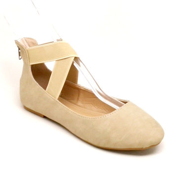 Beige Color Women's Flat with Stretchable Ankle Strap