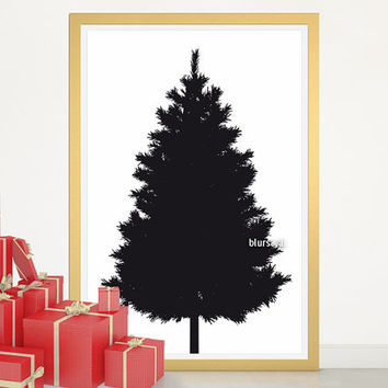 "Christmas tree alternative, Christmas tree silhouette, large printable poster, 20x30"" printable decor, diy christmas tree pinboard - cta001"