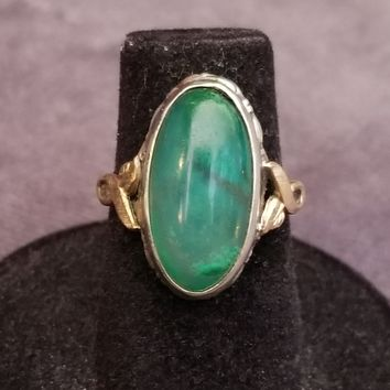 Clark and Coombs Moss agate sterling silver and Gold filled Art Deco ring size 5