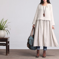 Round Neck Loose Fitting Long Maxi Dress - Dress in beige- (R) Long Sleeved Linen Dress for Women