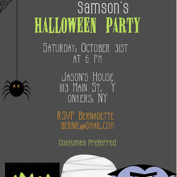 Kids Halloween Invitation - Printable Monsters Halloween Party Invitation - Digital Halloween Invite