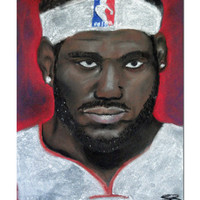 Lebron James Pastel Drawing - King James - NBA Art - Samiamart