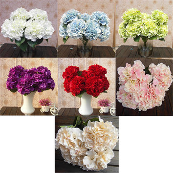 1 Bunch Artificial Silk Flower Bouquet Wedding Party Home Decoration Floral Hydrangea Flores Artificiales
