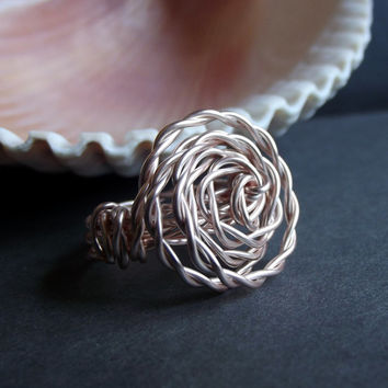 Rose Gold Ring:  Wire Wrapped Rosette Statement Ring, Large Spiral Ring, Holiday Jewelry, Custom Size