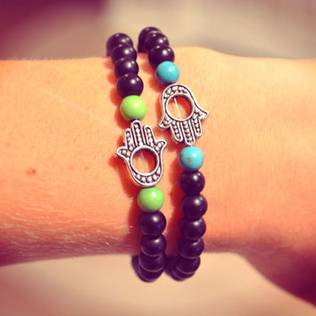 Hamsa Bracelet Hamsa Hand Arm Candy Peace Bracelet Beaded Hamsa Bracelet Stretchy Boho Hippie Bracelet Bohemian Arm Candy Beaded Love