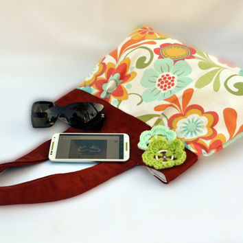 Autumn retro flower purse, pleated purse, shoulder purse, tote bag, canvas purse, canvas bag, fall purse, bohemian purse, shoulder bag