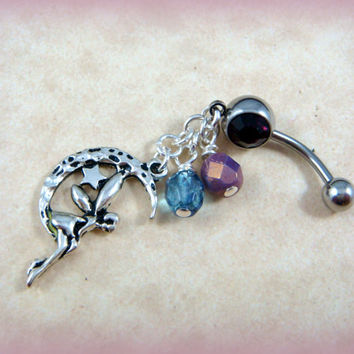 Belly Button Ring - Celestial Moon Belly Button Ring - Amethyst Belly Button Jewelry - Dangle Belly Ring - Fairy Belly Button Ring