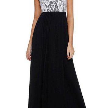 White Floral Lace Top Black Sleeveless Maxi Dress