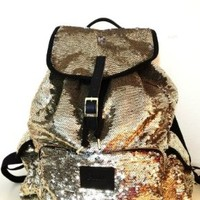 Victoria's Secret PINK Gold Sequin Backpack LIMITED EDITION, New