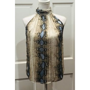 High Neck Snakeskin Top - Blue/Brown Snake