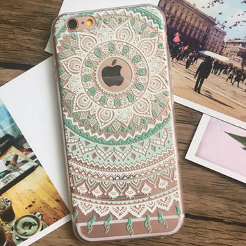 Womens Green Lace iPhone 5s 6 6s Plus Case Ultrathin Cover Free Gift Box 37