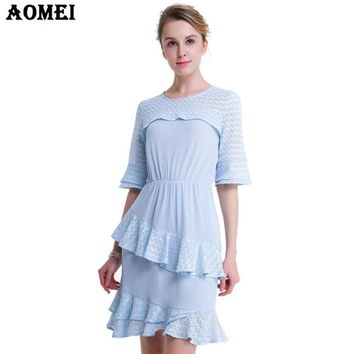 New Blue Color Office Lady Dress with Ruffles Elegant Spring Summer Female Clothing